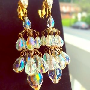 Jewelry - Dangly Clip On Vintage Aurora Borealis Earrings